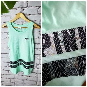 VS PINK 🎀 Mint Bling Sequin Muscle Shirt Tank Top